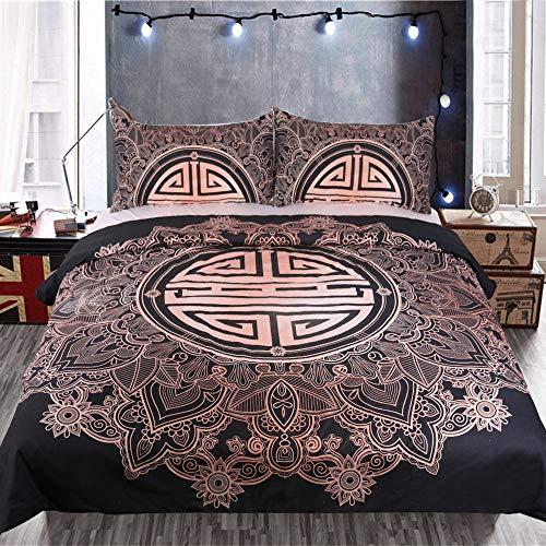 YUNSW Lotus Sun 3D Digitaldruck Bettbezug Kissenbezug Einzel Doppelbett Voll Königin King Size Bettwäsche Set B 173x218cm / 68x86in