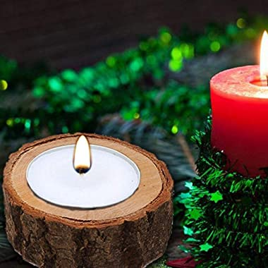 Yikko Tea Light Candle Holders, Personalized Wooden Votive Tealight Holder for Wedding Centerpieces for Table, Halloween  Chr