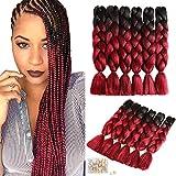 6 confezioni di trecce intrecciate bicolore per dread e trecce Extension dei capelli intrecciate sintetiche con Ombrè (24 pollici, nero/rosso vino)