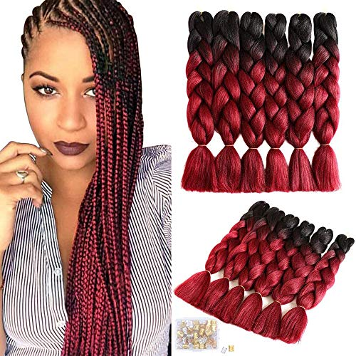 6 Packungen Haare zum Flechten zweifarbige Kanekalon Braids Haare synthetische Ombre Extensions zum Flechten(24inch,Black/Wine Red)