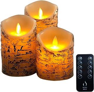 HONONARI LED キャンドル ライト Wood 専用リモコン付 3点セット