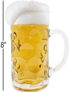 One Liter German Style Extra Large Oktoberfest Dimpled Glass Beer Stein Mug - Jumbo 34oz