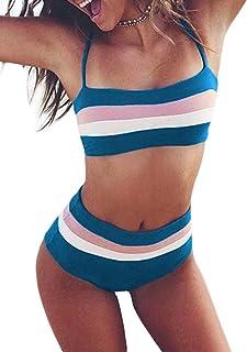 Arainlo Women's High Waist Bikini Set Solid Color Bathing Suit Adjustable Strap Two Piece Swimwear Sport Bikini