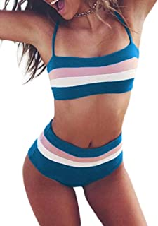Women's High Waist Bikini Set Solid Color Bathing Suit Adjustable Strap Two Piece Swimwear Sport Bikini