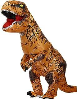 Qivange Disfraz inflable de dinosaurio T-Rex para adultos, disfraz de dinosaurio, juego de Navidad, disfraz de cosplay, vestido de disfraces para Halloween 2.1 m