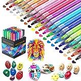 36 Farbige Steine Bemalen Acrylstifte Wasserfester Acrylfarben Marker Stifte Permanent für Keramik Leinwand Design Schule Manga Kunstle DIY Fotoalben Hochzeit Papier