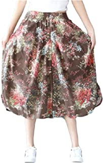 DressU Women's Ethnic Style Floral Printing Cotton Linen Elastic-Waist Casual Pantalettes