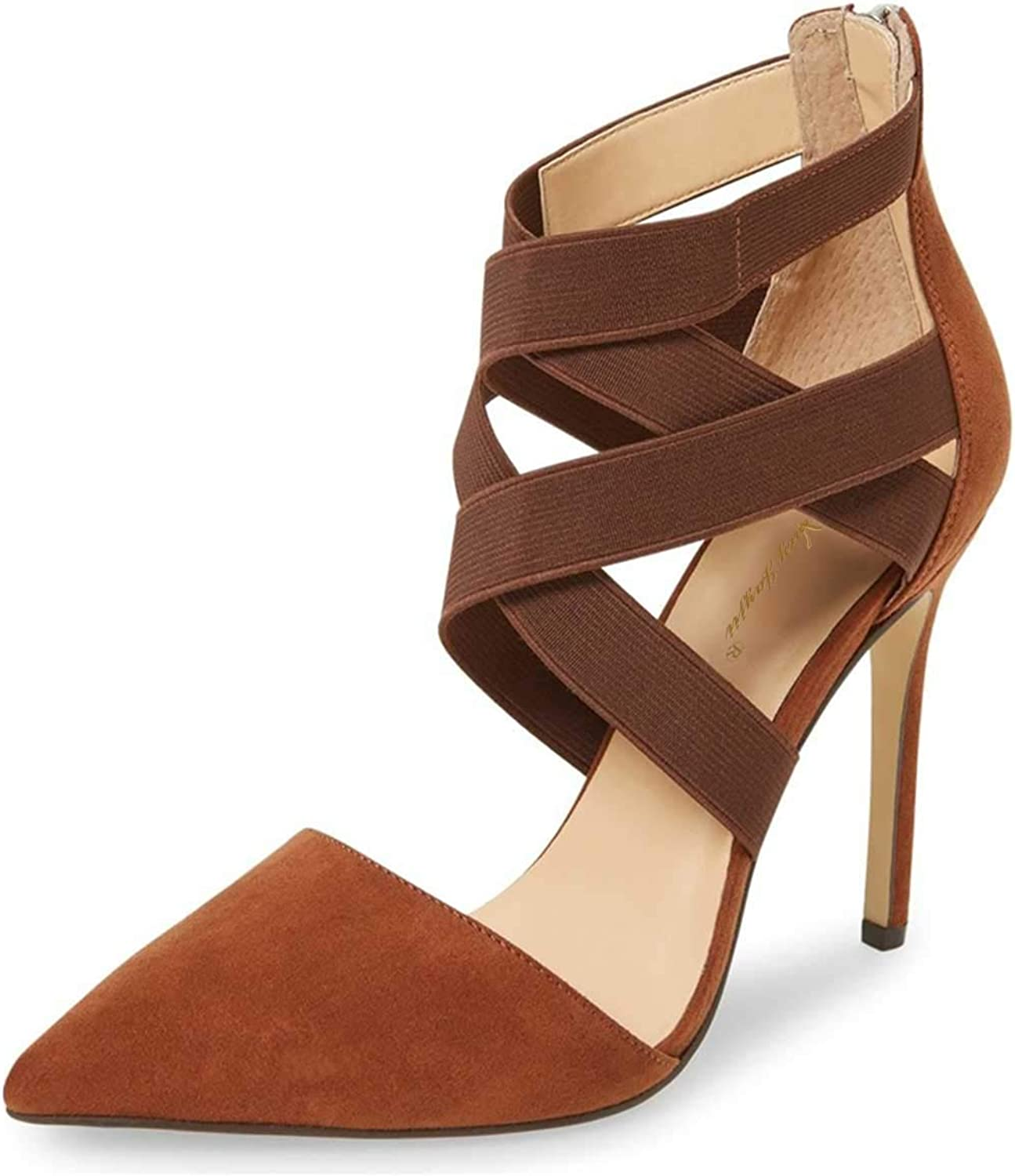NJ Women Pointed Toe Strappy D'Orsay Dress Pumps Stiletto High Heel Credver Straps Prom Party with Back Zip