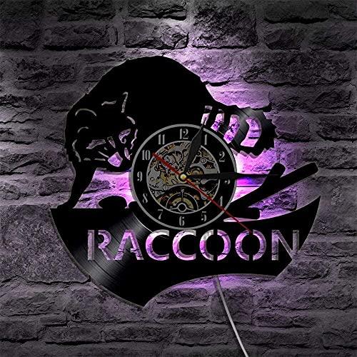 Reloj de pared con luz LED de 7 colores para pared con diseño de animales de bosque, mapache para decoración del hogar, diseño de racoón y bosque, habitación infantil, mapache
