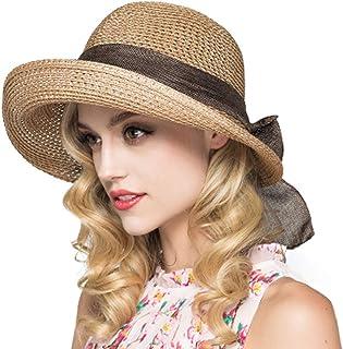 Cyiecw Women's Sun Straw Hat, Big Brim Hat Bowknot Summer Hat Foldable Roll up Floppy Sunhat Beach for Women
