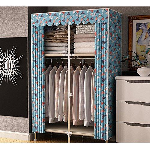Placard en Tissu Pliant armoires d'assemblage Double Tuyau Bold Armoire Garde-Robe Tissu Oxford Facile à Installer, 66 * 43\