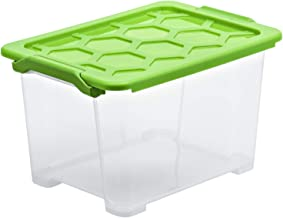 Rotho, Evo Safe Keeping, pudełko do przechowywania 15 l z pokrywką, tworzywo sztuczne (PP) BPA, przezroczyste/zielone, 15 ...