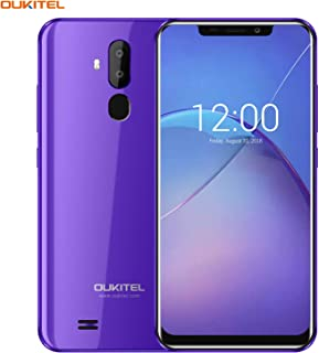 OUKITEL Unlocked Smartphones, Cell Phones Unlocked Android Phones with Dual Sim 6.18'' Notch Display, Face ID + Fingerprint, 16GB + 2GB, Dual Camera, 3300mAh Battery (International Version) (Purple)