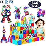 infinitoo 146Pcs Magnetic Building Blocks, Magnet Blocks Set 3D Building Blocks Toys for Girls and Boys...