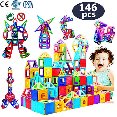 infinitoo 146Pcs Magnetic Building Blocks, Magnet Blocks Set 3D Building Blocks Toys for Girls and Boys Perfect STEM Educational Construction Kit Magnet Stacking Creativity Toys for Kids Children