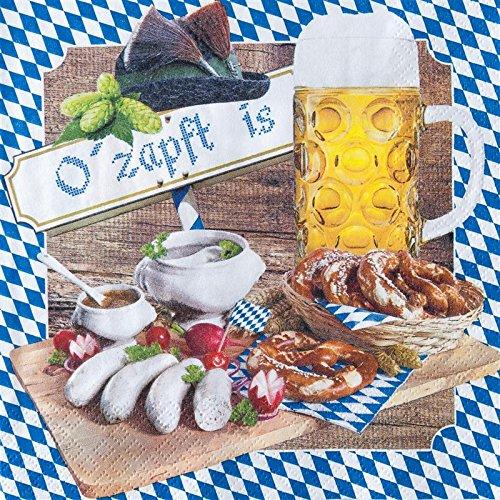 20 Servietten O zapft is / Bayern / Oktoberfest / Raute 33x33cm
