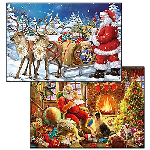 5d Diamond Painting Kits Full Drill Christmas, 2 Pack Christmas Santa Claus Full Drill Cross Stitch Rhinestone Christmas Pictures for Home Wall Decor DIY