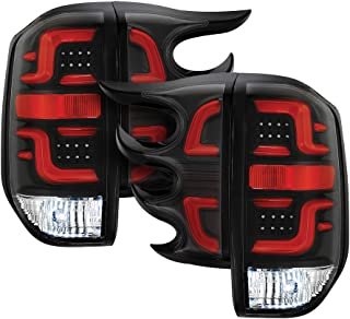Torcia Auto Fits Toyota Tundra 14 15 16 LED Tail lights Cruising Edition, Clear Lens & Black Housing & Red Light Bar (TYPE B-R)