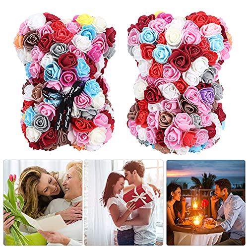 Urso de flor rosa, ursinho de pelúcia rosa, altamente ornamentais para oferta de presentes de decoração familiar(color)