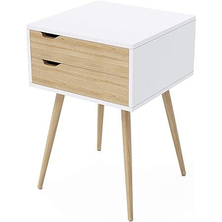 Amazon Com Dar Blaine 2 Drawer Side Table White Natural Furniture Decor