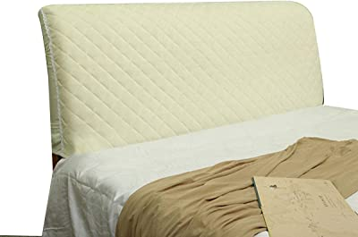 Polyester Fiber Elasticity Bed Headboard Cover Dustproof Stretch Bed Head Protector Cover Solid Color Bedroom Decoration (Color : Beige, Size : 2.0cm)