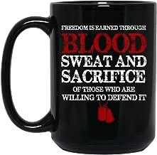 Freedom Is Earned Through Blood American Veteran Gifts for Men Black Coffee Mug 15oz