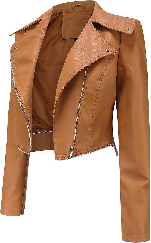 2021 Autumn and winter Women Ladies Lapel Motor Jacket Coat Zip Biker Short Punk Cropped Cot Outerwear