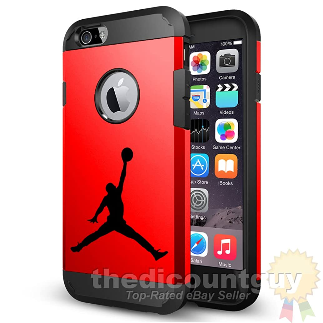 iPhone 8 Plus Dual Layer Apple Logo Window Display Michael Jordan Case with Shockproof Rugged Durable Protection Air Jumpman Basketball Cover (Red)