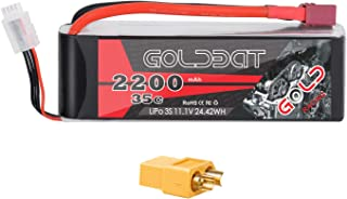 GOLDBAT 11.1V 2200mAh 3S 35C Lipo Battery with Deans and XT60 Plug for RC Evader BX Car RC Truggy RC Truck RC Airplane RC Heli UAV Drone FPV (1 Pack)