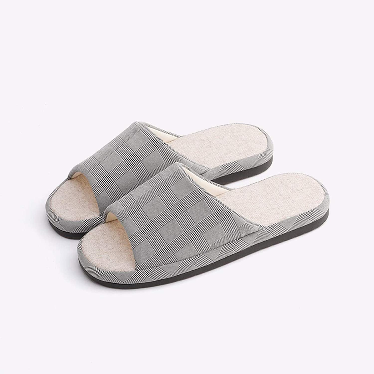 QPGGP-Slippers Home Floor Slippers, Wooden Floor, Silent, Four Seasons, Couples, Indoor Anti Slip Cotton and Slippers.