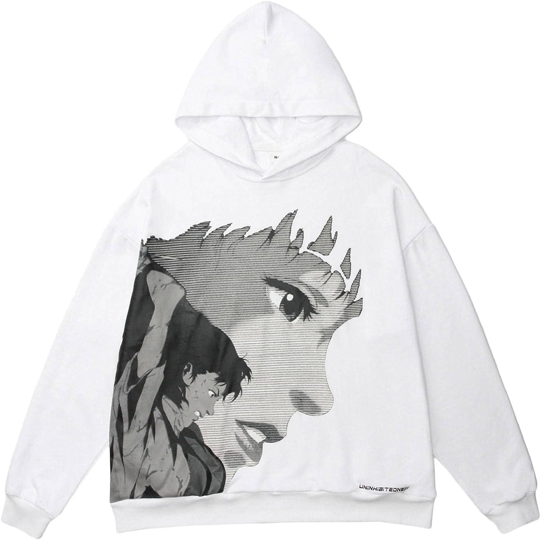 Perfect Blue Cartoon Print Streetwear Hooded Cartoon Sweater Oversized Hip Hop Street Harajuku Casual Pullover