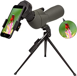 Newest 20-60x60 HD Spotting Scope BAK4 45 Degree Angled Eyepiece Telescope and 20x-60x Zoom Magnification for Target Shooting Hunting Bird Watching Wildlife Scenery with Tripod, Carrying Bag