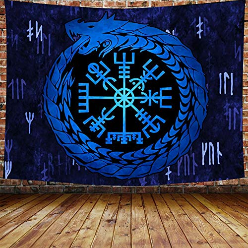 DBLLF Norse Viking Dragon Tapestry, Norse Vegvisir Tapestry Blue Nordic with Runic Compass Tapestry Celtic Pagan Wall Hanging, Large Flannel Large Art Tapestry for Home Decor 80' x 60' GTZDDB167