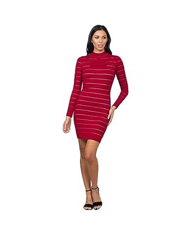 Bebe Long Sleeve Sheer Stripe Sweaterdress