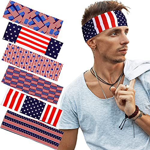 6 Pieces American Flag Headband USA Flag Hair Band 4th of July Bandanas Patriotic Running Headband Stretchy Athletic Headband Ear Protection Head Wraps Unisex for Yoga Running Exercise Workout