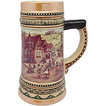 Ceramic Beer Stein with German Village Dancers Shot Glass 3.5 Essence of Europe Gifts E.H.G S401