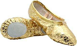 Womens Leather Ballet Belly Slippers Ballroom Dance Shoes with Suede Split-Sole