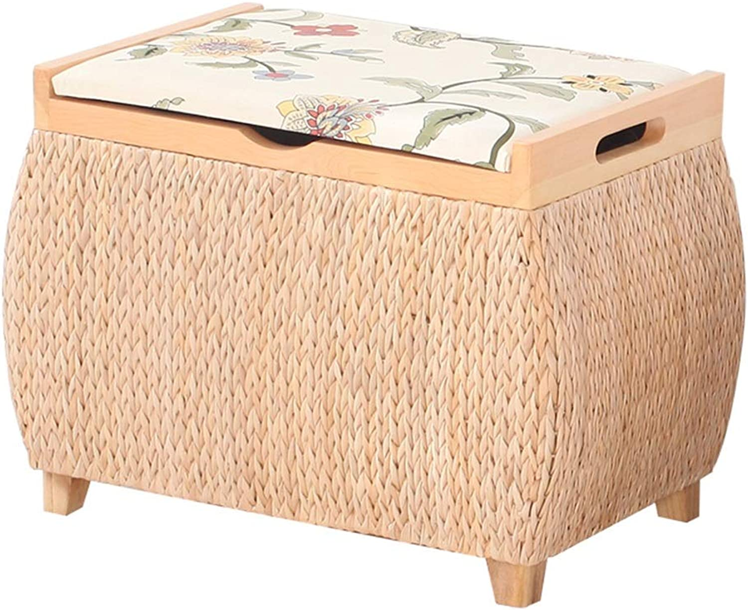 LSXIAO Pouffes And Footstools Storage Stool 4 Solid Wood Legs Stable Natural Plants Handmade Green Formaldehyde Free, 2 Sizes (color   Beige A, Size   40x29x32cm)