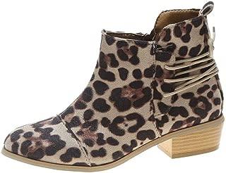 Women Ankle Short Booties Leopard Print Suede Martin Boots Shoes Zipper Boots