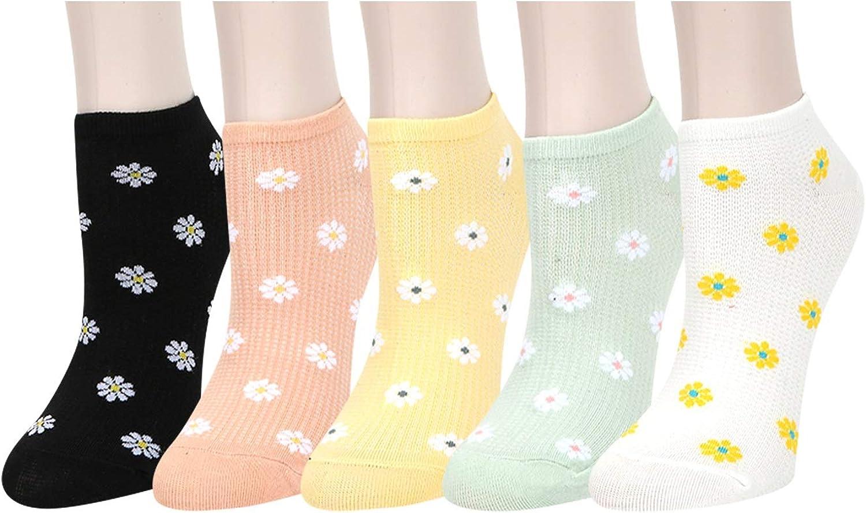 Benefeet Sox Womens Girls Fun Cute Ankle Socks Novelty Funny Low Cut Socks Crazy Colorful Daisy Flower Patterned Short Socks Funky Casual Gift Socks, 5 Pack-Multi Daisy