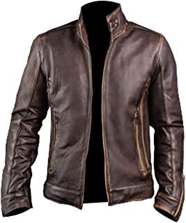96125c12a30 Spazeup Cafe Racer Jacket Vintage Motorcycle Retro Moto Distressed Leather  Jacket