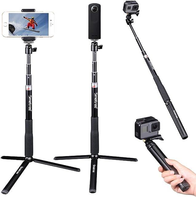 Smatree Q3S Palo Selfie Stick con Trípode para GoPro Hero 2018 Hero 7/6/5/4/3+/3/2/1/Fusion/SessionRicoh Theta SM15Cámaras Osmo Action y Teléfonos Móviles