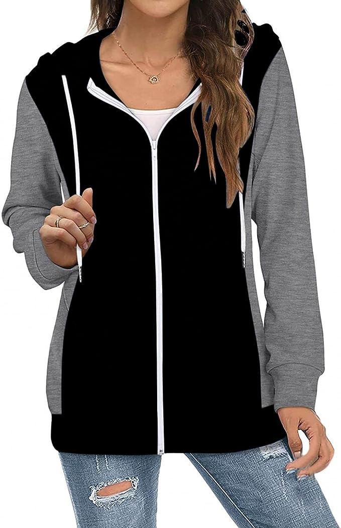 Vedolay Hoodies for Women Zip up,Lightweight Zip Up Hoodies for Women Hooded Sweatshirts Long Sleeve Thin Jacket with Zipper
