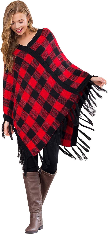 Knit Poncho Fringe Tassel Shawl Wrap - Warm Sweater Pullover Top Stripe Turtleneck, V-Neck Checkered Buffalo Plaid