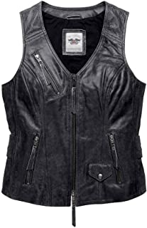 HARLEY-DAVIDSON Women's Distressed Dust Rider Leather Vest, 98103-16VW (M) Black