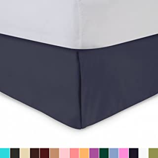 Shop Bedding Harmony Lane Tailored Bed Skirt - 14 inch Drop, Navy, Queen Bedskirt with Split Corners (Available in and 16 Colors)