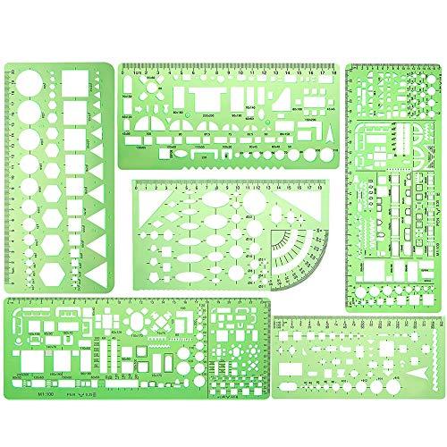 KINDPMA 6 Stück Zeichenschablone Technisches Zeichnen Geometrische Schablone Architektur Kreisschablone Geometrie Set Elektro Vorlage Lineal Set für Elektrotechnik Maschinenbau Architektur