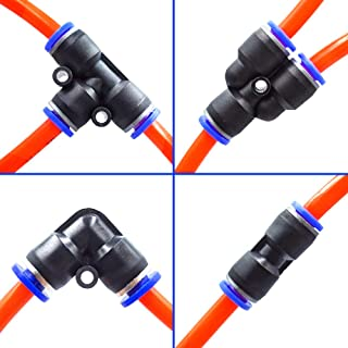 """Tailonz Pneumatic 1/4""""od Push to Connect Fittings Pneumatic Fittings kit 10 Spliters+10 Elbows+10 tee+10 Straight (40 pcs)"""