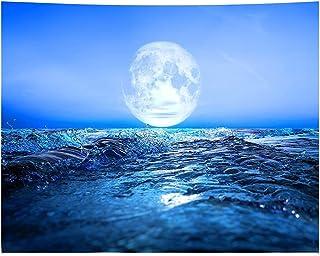 SJZERO Impressions 3D Mer Moonsun Tenture Murale Tapisserie Fond Tissu Plage Tapis De Table pour Chambre Salon Décor 230X1...