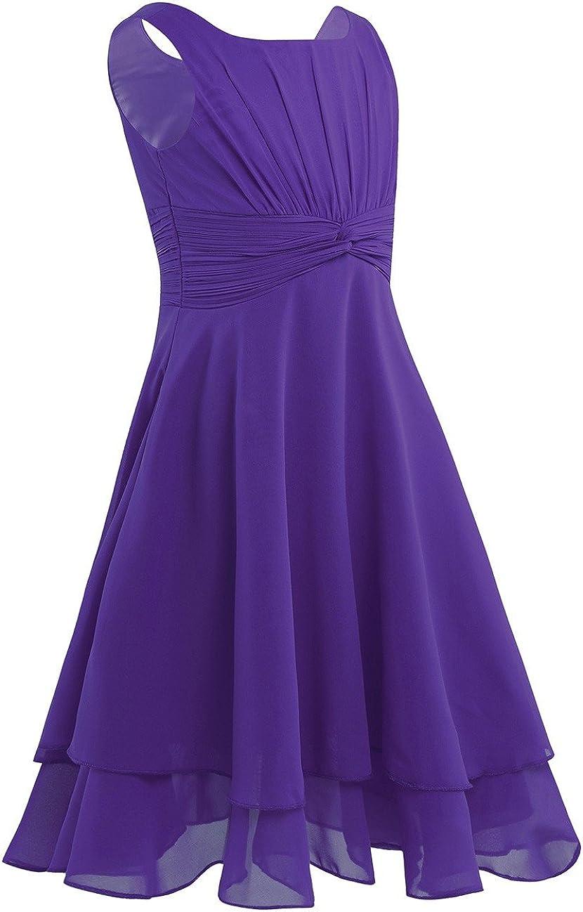 YiZYiF Big Girl's Knotted Waist Chiffon Flower Girl Dress Wedding Party Dresses